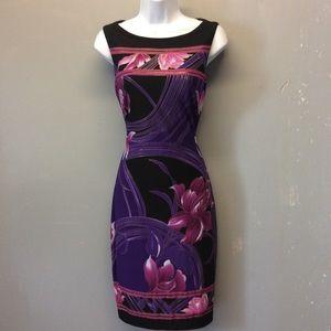 Sz 6 Cache Floral Print Dress Hourglass Fit
